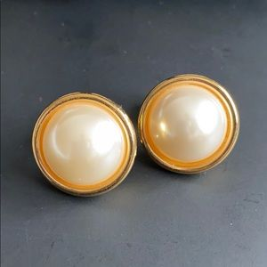Vintage Napier Pearl Gold Clip-On Earrings